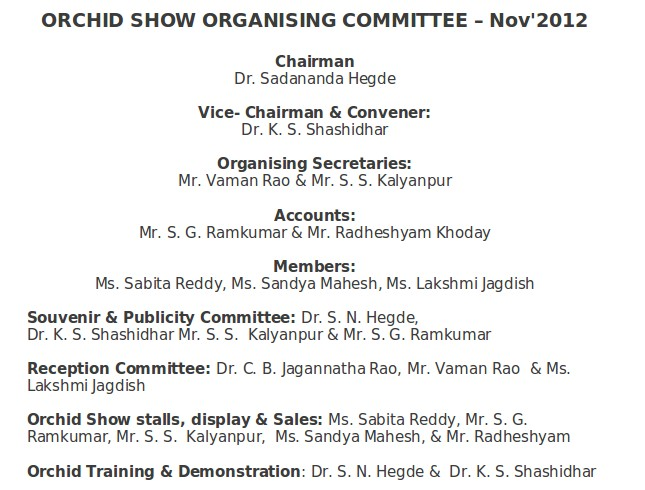Orchid Show Committee - Nov'2012