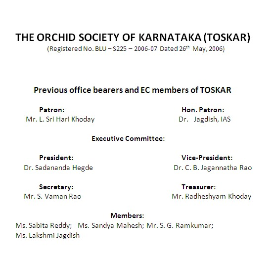 TOSKAR Office bearers 2012