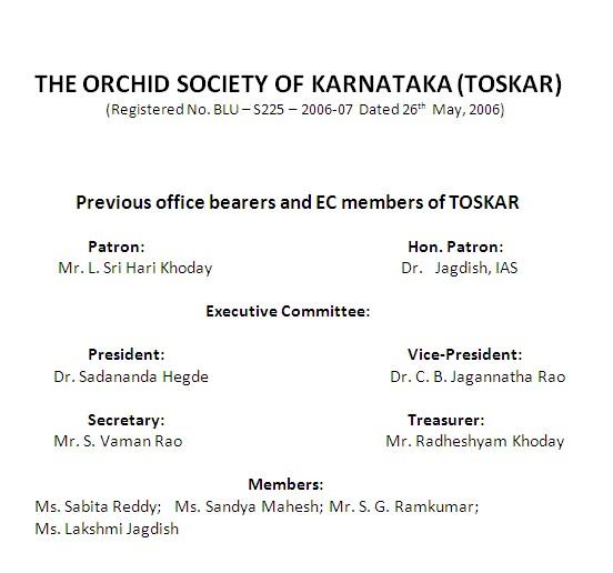 TOSKAR Office bearers 2012